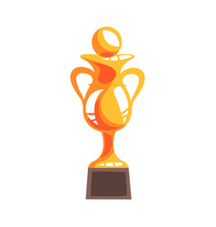 golden winner cup with handball ball cartoon vector image
