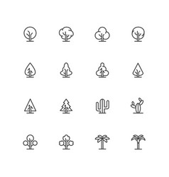 simple lineart trees icons landscape line vector image vector image