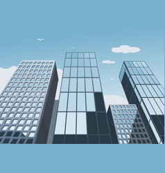 skyscrapers on a background of the blue sky vector image vector image