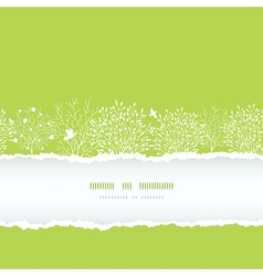 Spring trees torn paper horizontal boder seamless vector image