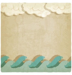 Vintage background with waves and clouds vector image vector image