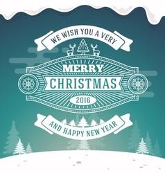 Christmas greeting card vintage design vector image