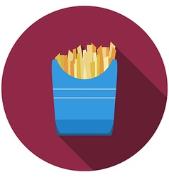 Flat design fried potato icon with long shadow vector image