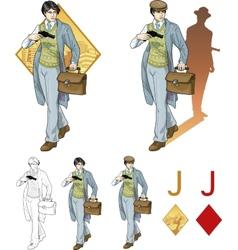Jack of diamonds asian boy with a gun Mafia card vector image vector image