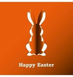 Paper rabbit on a orange background vector image vector image