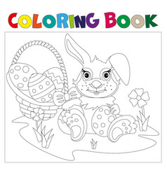 rabbit carrying a decorated easter egg vector image vector image