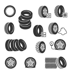 tire shop tyres change auto service icons vector image vector image