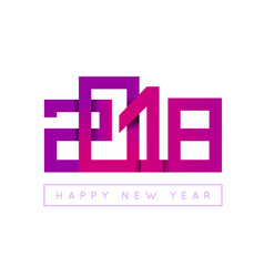2018 happy new year congratulation origami paper vector image