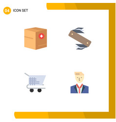 4 thematic flat icons and editable symbols add vector