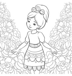 Adult coloring bookpage a cute litthel fairy on vector