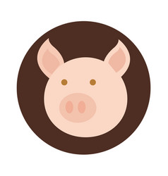 agriculture farm pig animal head cartoon block and vector image