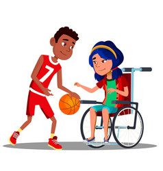 asian girl in wheelchair with afro american boy vector image