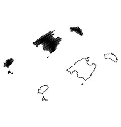 Balearic islands map vector