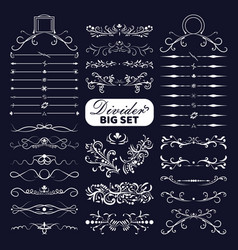 big set white decorative flourishes dividers on vector image
