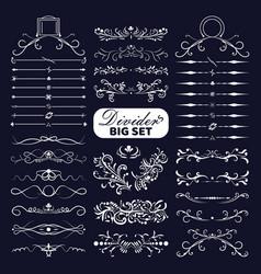 big set white decorative flourishes dividers vector image