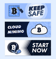 Bitcoin digital currency creative banners vector
