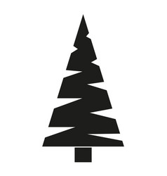 black and white triangular fir tree silhouette vector image
