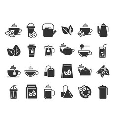 black tea leaves icons hot drink cup cold iced vector image
