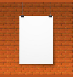 blank white poster on red brick wall vector image