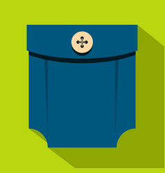 Blue shirt pocket with button icon flat style vector