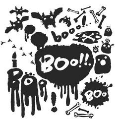 Boo ink doodle set vector