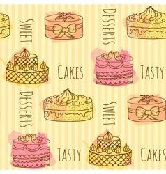 cake Set of 4 hand drawn vector image
