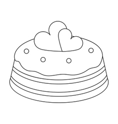 Cake with hearts icon in outline style isolated on vector
