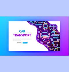 car transport neon landing page vector image