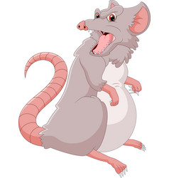 Cartoon angry mouse on white background vector