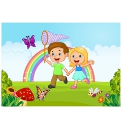 Cartoon kids catching butterfly in the jungle vector