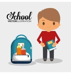 Cartoon school boy with book and bag utensils vector