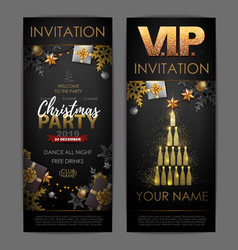 Christmas poster with golden champagne bottles vector