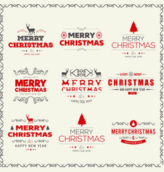 christmas set of typographic with frame vector image