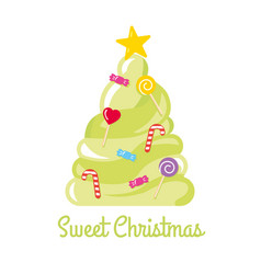christmas tree made of sweets and candies vector image