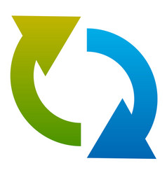 Circular arrow icon two curved arrows pointing vector