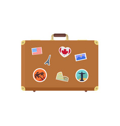 closed leather vintage suitcase decorative memory vector image