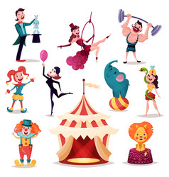 Clown and magician near circus tent or camp vector