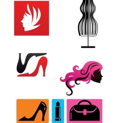 collection fashion icons and elements vector image