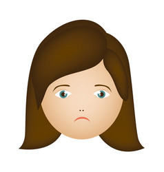 colorful cartoon human female sad face vector image