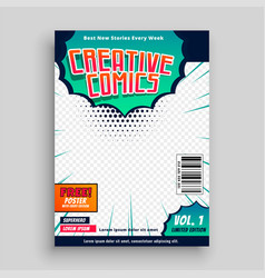 comic book cover template design vector image