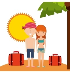Couple cartoon and sun icon Summer design vector image