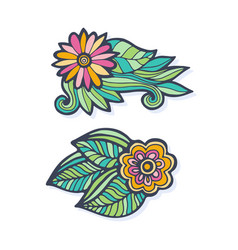Creative hand drawn flowers set doodle flowers vector
