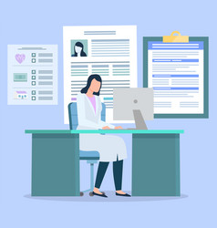 Doctor looking at health insurance card patient vector