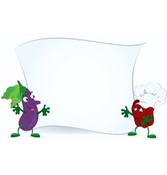 Eggplant and bell pepper in chef hat vector image