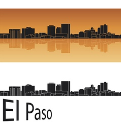 El Paso skyline in orange background vector image