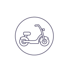 Electric bike scooter line icon vector