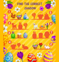 Find correct shadow kids game with easter eggs vector