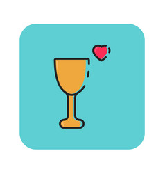 Flat color love glass icon vector