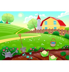 Funny countryside scenery with vegetable garden vector image