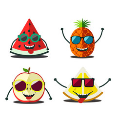 funny fruits set vector image